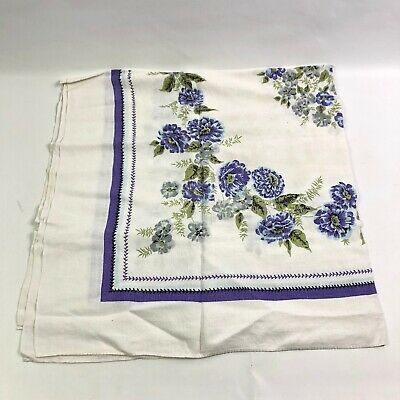 Vintage Baby Blue And Purple Floral Square Tablecloth