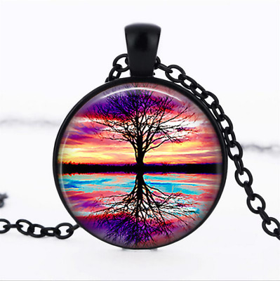 Silhouette Sunset photo Glass Dome Chain Pendant Necklace wholesale jewelry