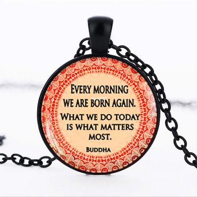 Buddha Quote necklace photo Glass Dome Chain Pendant Necklace wholesale jewelry