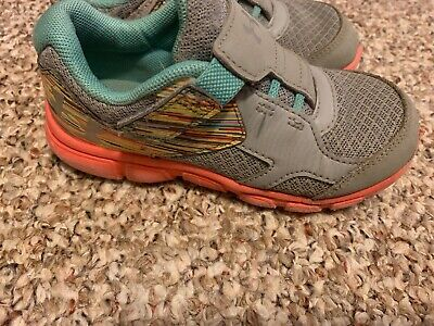 Under Armour Toddler Girls 10 No Lace Gray Pink & Teal Rainbow