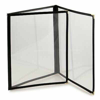 (25 Pack)  Black Menu Covers - Three Page, 6 View, Fits 8.5 x 11 Inch