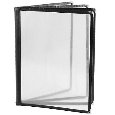 (50 Pack) Black Menu Covers - Four Page, 8 Views, Fits 8.5 x 11 Inch