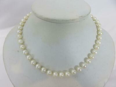 "Lovely ANTIQUE CHINESE 7-8mm PEARLS 17"" NECKLACE Beautiful Luster Silver Clasp"