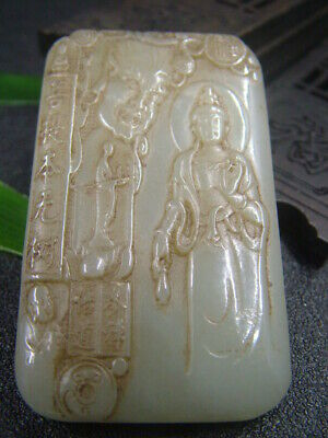 Chinese Antique Celadon Nephrite Hetian-Jade GUAN YIN  statues/Pendant 490