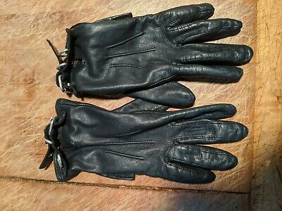 Ladies Leather Gloves Black Size EXTRA SMALL / SMALL / TEENS