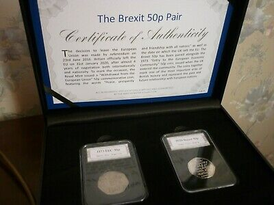 BREXIT 50p FIFTY PENCE TWO COIN SET PAIR 2020 & 1973 IN PRESENTATION BOXED SET