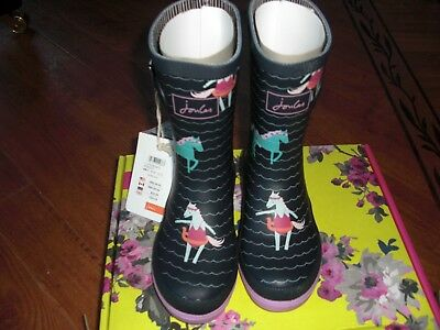 Bnwt Girls Joules French Navy Sea Pony Wellingtons Welly Boots Uk 11.Rrp £24.95