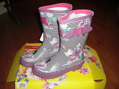Bnwt Girls Joules Stripe Floral Lilac Wellingtons Boots Size 2.Rrp £24.95