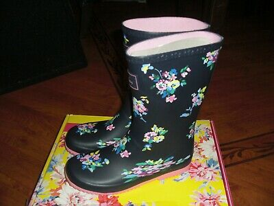 Bnwt Joules Roll Up Navy Blue Ditsy Wellingtons Welly Boots Uk 3.Rrp £24.95