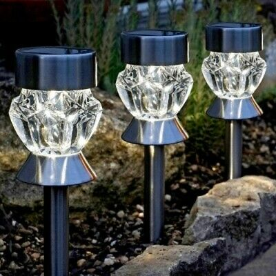 4 Stainless Steel Solar Power Coloured LED Lights Outdoor Garden Stake Path