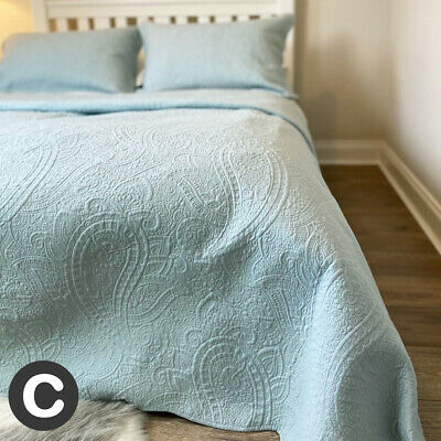 Luxury 100% Cotton King Size 3 Pc Set Quilted Bedspread Paisley Duck Egg Blue
