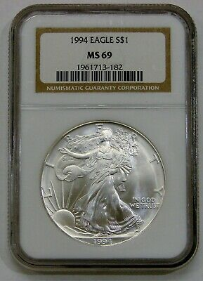 1994 - Silver American Eagle - NGC MS 69 - Brown Label