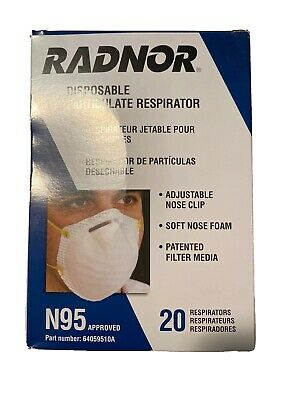 RADNOR NIOSH N95 Approved Valved Particulate Mask BOX of 20 Flu Virus Prevention
