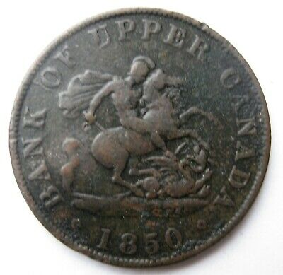 Upper Canada Bank Token 1850 Half Cent St. George Slaying the Dragon