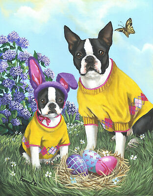 "Precious Pets Garden Flag - Boston Terrier Spring Bunny 12"" x 18"" ~ Charity!!"