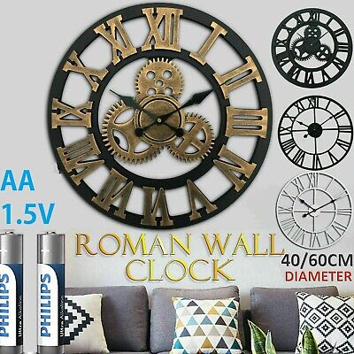 40/60Cm Extra Large Roman Wall Clock Numerals Open Face Home Garden Metal Round