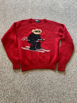 VINTAGE 90s POLO RALPH LAUREN HAND KNIT RL2000 SKI POLO BEAR SWEATER LARGE