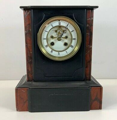 Antique French Slate Mantel Clock 8 Day Beveled Cut Marble C1890 Striking Chime
