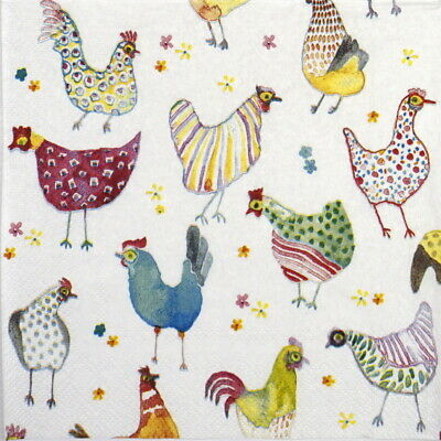 6x Cocktail 25x25cm Paper Napkins for Decoupage Party Jolly Hens