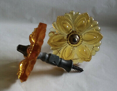 Pair Antique Amber Glass Curtain Tie Backs...Pewter Hardware...19th. Century