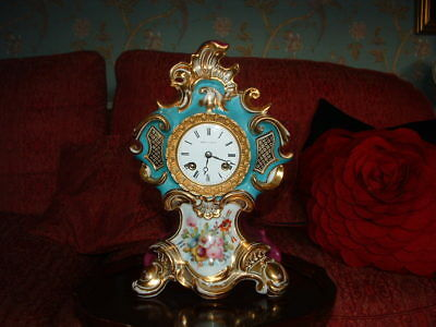 ANTIQUE CLOCK EARLY 1800s-FINE PARIS PORCELAIN FRENCH EMPIRE-8 DAY MANTLE CLOCK