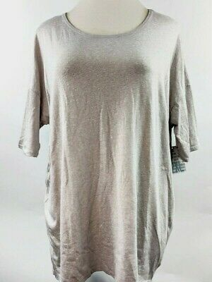 LuLaRoe Womens Irma Tunic 2XL 24/26 Light Gray Solid Plus Size Hi Low Top NWT