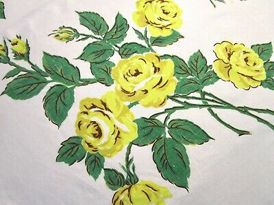 Vintage Tablecloth Huge Yellow Roses Print Linen 52 X 68 Midcentury