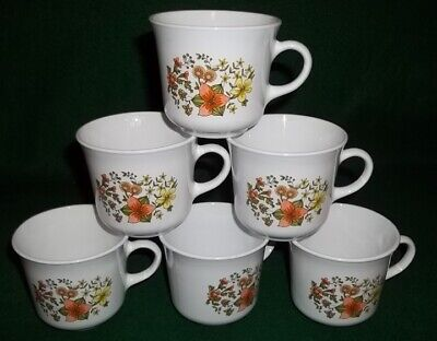 Vintage Set of 6 Corelle by Corning Indian Summer Tea / Coffee Cups - Nice!