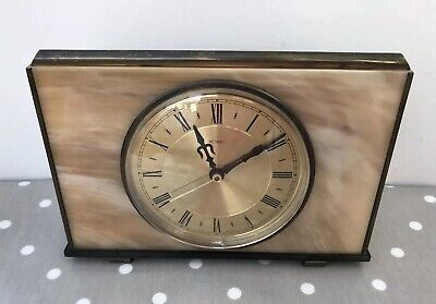 VINTAGE 1970's METAMIC KIENZLE BATTERY ONYX MANTLE CLOCK - FOR SPARES OR REPAIR