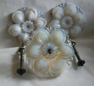 Three Antique Glass Curtain Tie Backs ...Irridescent Clambroth...Hugh 4 1/2""