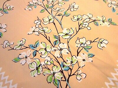 Vintage Tablecloth Dogwood Blossoms Flowers Apricot Turquoise Green Square