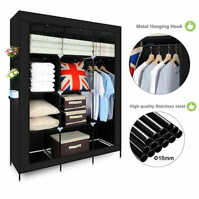 Black Triple Canvas Wardrobe Hanging Clothes Rail, Storage Fabric Extra Large