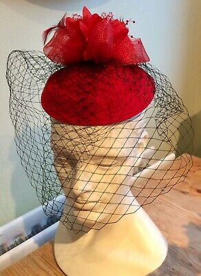Gorgeous Red & Black Net Pillbox Fascinator - Wedding Races Special Occasion Mob