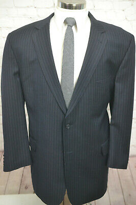 Jos A Bank Mens Navy Blue Wool Pinstripe Pleated Front 2 Piece Suit 50R 40Wx27L