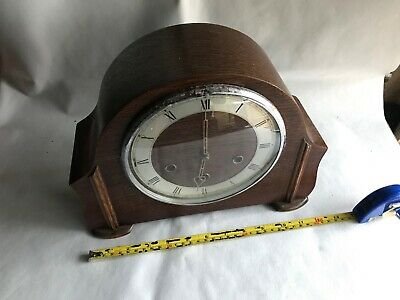 antique mantle westminster chiming striking clock wooden vintage