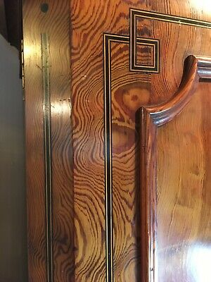 Aesthetic/ Arts & Crafts Pitch Pine Antique Victorian Wardrobe / Linen Press