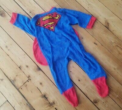 Vtg 70s Superman Toddler Footie Pajamas 1 Year 12Mo Cape One Piece Costume Child