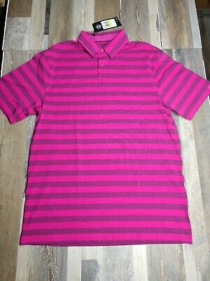 Under Armour Golf Heat Gear Stripe Shirt LARGE Pink Loose 1323455 654 NWT