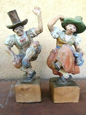 "Pair- 14"" Vintage Signed J. Adlhart Carved Wooden Austrian Dancers Figures-1947"
