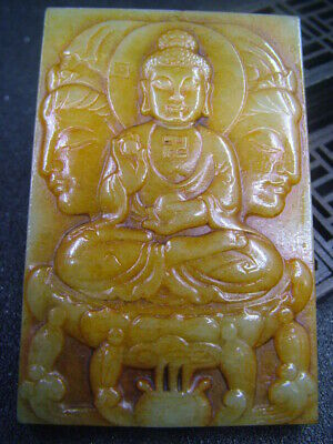Chinese Antique Celadon Nephrite Hetian-Jade Hollow Buddhism statues/Pendant 972
