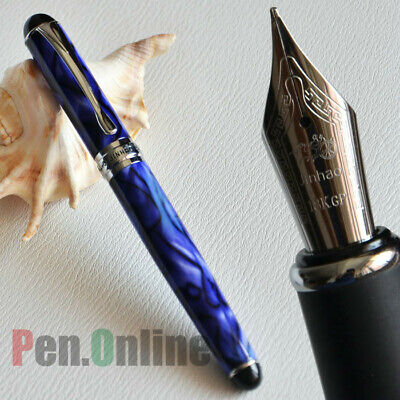 Jinhao X750 18Kgp Broad Nib Fountain Pen Royal Blue Marble And Silver Trim