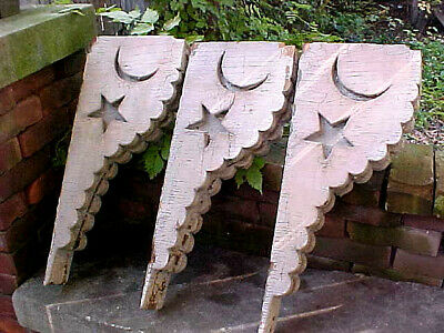 Antique Victorian Corbel Star & Moon Wood Primitive Shabby Chic Architectural
