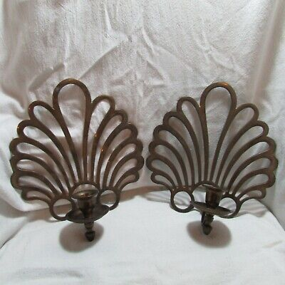 Lovely Vintage Brass Set, Pair of Ornamental Wall Sconces, Candle Holders