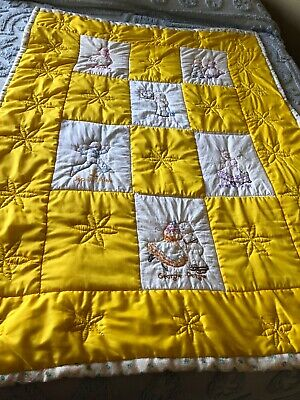 Vintage Hand Embroidered Nursery Rhyme Hand Quilted Baby Quilt
