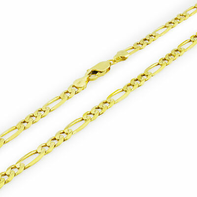 Real 10K Yellow Gold Solid Mens 6mm Italian Figaro Link Chain Necklace 26in 26""
