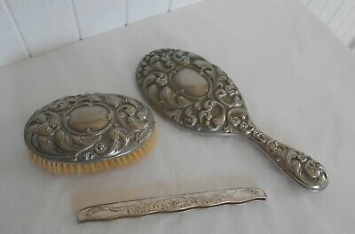 Vintage Silver Plated Ornate Rococo Style Heavy Hand Mirror, Brush & Comb Holder