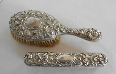 Vintage Silver Plated Ornate Rococo Style Hair & Clothes Brushes
