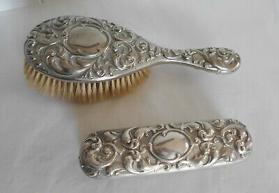 Vintage Silver Plated Ornate Rococo Style Hair Brush & Clothes Brush Set