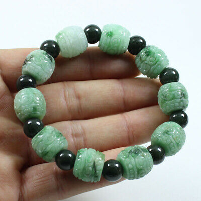 Certified Grade A Natural Green Jadeite Jade Hand-carved Beads Bracelets a1673