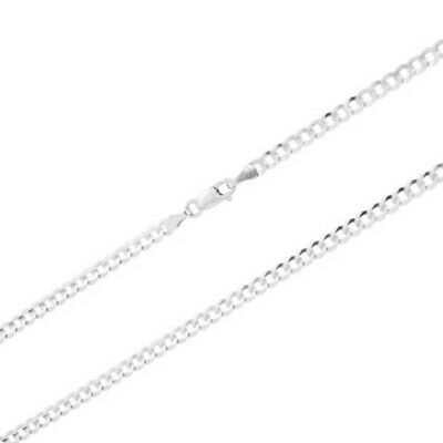 """Solid 10K White Gold 3mm Curb Cuban Chain Pendant Necklace Lobster Clasp 16""""-30"""""""